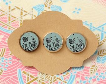 10 pcs handmade flower - earrings, pendant, ring - 12mm (PW 0208A)