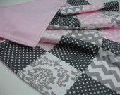 Baby Pink and Gray Mixed Patchwork Fleece Blanket 37 x 56 READY TO SHIP On Sale