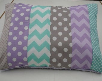 Lavender Aqua and Gray Chevron and Dots Strip-Style Patchwork Pillow Sham