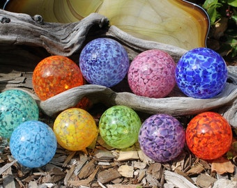 Set of 10 Small and Medium Colorful Hand Blown Glass Floats, Garden Balls, Gazing Glass Orbs In Shades of the Rainbow Outdoor Art Decoration