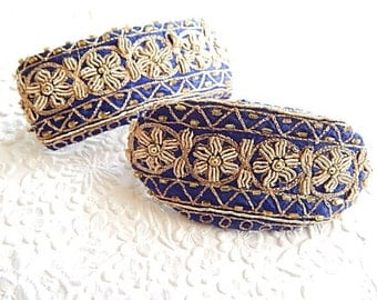 Blue  embroidered beaded hair barrette, thick hair clip, ponytail holder, BACK IN STOCK