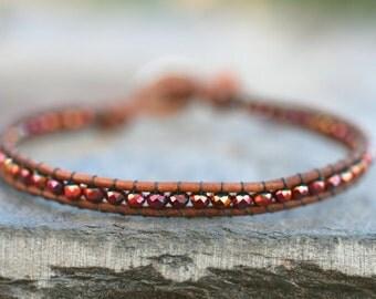 Crystal Leather Wrap Bracelet, Rose Gold Crystal Beaded Leather Handmade Bracelet, Skinny Wrap Stacking Bracelet
