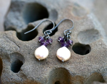 White Freshwater Coin Pearl and Purple Amethyst Gemstone Earrings, Oxidized Sterling Silver, Wire Wrapped Earrings,