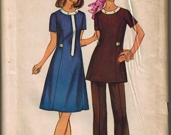 1971 Simplicity 9630 Sewing Pattern Vintage Retro Yoked Mini Dress or Tunic Size 18.5