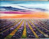 """Oil Painting Lavender Fields Sunset Impasto 9"""" x 12"""" READY to SHIP"""