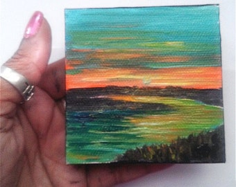 """Mini Oil Painting Sunset over River 3""""x 3"""" READY to SHIP"""