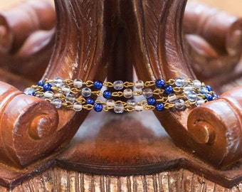 Blue Pearl Sapphire Clear Faceted Czech Glass Bead Chain Raw Brass Links chn111