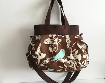 Cross Body Pleated Bag (SMALL or MEDIUM) w/ Adjustable Strap - Swallow Study in Chocolate