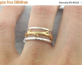 Valentines Day Sale Gold Twig and Silver Bands Ring Set|  Stacking Rings Set