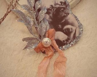 Victorian PUG Puppy Dog Shabby Mixed Media Christmas Ornament