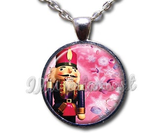 Nutcracker Pink Snowflakes - Round Glass Dome Pendant or with Necklace by IMCreations -   BA104