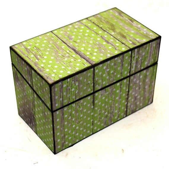 Wood Recipe Box Lime Green with White Polka Dot Barn Wood Fits 4x6 Cards