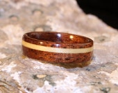 Australian Blackwood Wooden Ring with Offset Inlay of Maple (In Stock Size 6; 6mm Wide) // Wood Ring for Women // Wood Wedding Band