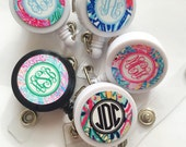 Monogrammed ID Badge reel, personalized, badge clip, lilly inspired patterns, monogrammed  12 pattern choices
