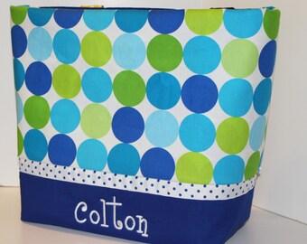 Personalized Diaper Bag .Tote . Weekender/XL size . Disco Dot Caribe . monogrammed FREE .  boy diaper bag