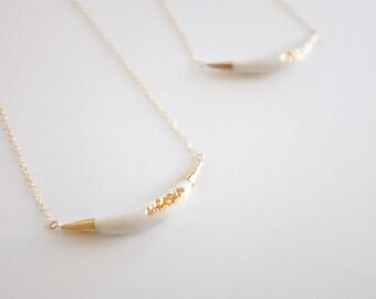 22k Gold Carved Arc Necklace - Porcelain Jewelry - Nautical, minimalist jewelry, nickel free