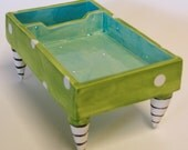 whimsical pottery Desk Dish -- business card holder & pen holder colorful ceramics, kitchen desk, aqua turquoise