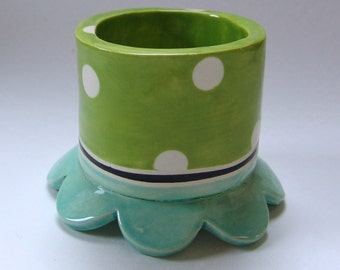 whimsical pottery Desk Pencil Cup, bathroom ceramic cotton swab holder :) lime green & turquoise, polka-dots home decor -- ready to ship