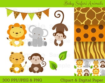 Cute Jungle Animal Clipart / Safari Animal Clipart / Jungle Animal Clipart / Jungle Animal Baby Shower / PERSONAL USE Instant Download A100