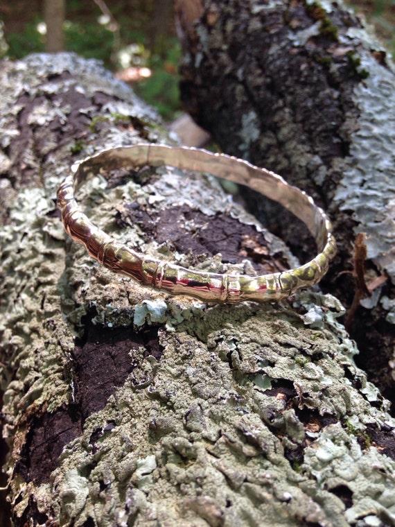 """14 KT Gold 7"""" Bamboo Bangle Bracelet 585 (22.3 grams)"""