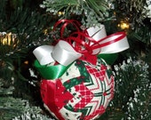 """5"""" Quilted Red-White-Green Christmas Ball Decoration - Home Decor - Tree Decor - Ornament - Christmas - Holiday Decor - Quilted Ball"""