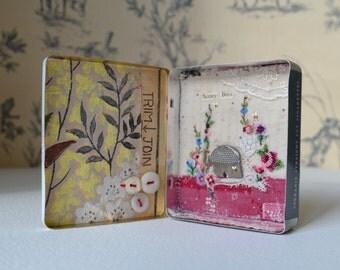 Vintage tin - mixed media - Garden artwork