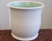 Utensil Crock - Ceramic Utensil Holder - Stoneware Pottery Utensil Caddy in White and Mint Green
