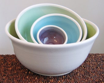 Ceramic Nesting Bowls - Wedding Gift - Stoneware Pottery Serving Bowl Set in Mermaid