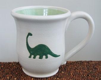 Dinosaur Mug - Large Handmade Pottery Mug - Brontosaurus Stoneware Coffee Cup 16 oz.