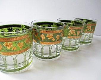 Vintage Bar Glasses Cera Green Golden Grape Old Fashioned Set of Four - Retro