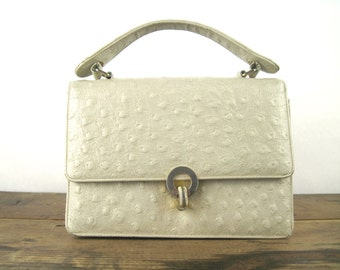 1950s Pearl Ostrich Skin Handbag - vintage Kelly Bag, BIENEN-DAVIS, puckered leather, creamy white