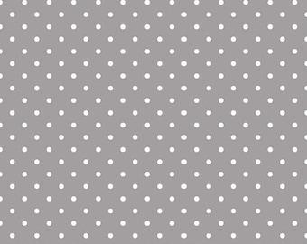 20% OFF White Swiss Dots on Gray - 1/2 Yard