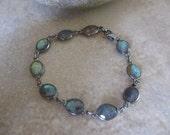 Labradorite Bracelet, Labradorite Silver Bracelet, Oxidized, Blue Labradorite, Green Labradorite, Labradorite Station Bracelet