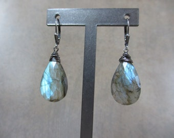 Large Labradorite Oxidized Silver Earrings, Blue Flash, Wire Wrapped, Blue Green, Blue Earrings, Aqua Labradorite, Gemstone Earrings