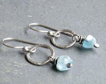 Aquamarine Earrings, March Birthstone, Circle Dangle Earrings, Rustic Gemstone, Sterling Silver, #4616
