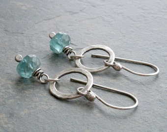Blue Green Apatite Gemstone Earrings, Aqua Blue Apatite, Faceted Apatite, Circle Dangle Earrings, Sterling Silver, #4671a