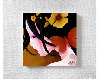 Mini acrylic painting: Le papillon cuivé
