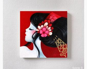 Mini acrylic painting: Camelia