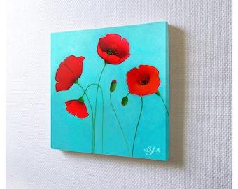 Mini acrylic painting: Coquelicots