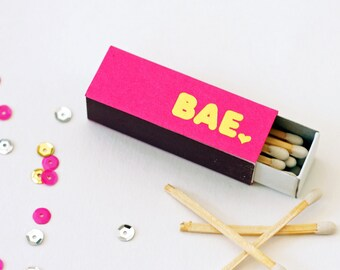 Gold Foil Matches - BAE - Foil Stamped - Hot Pink Matches - Set of 3 - Hostess Gift - Party Favor