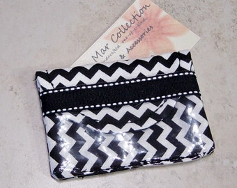 Business Card Case, Business Card Purse, Black and White Chevron Fabric Case, Business Card Wallet,Cloth Case, Credit Card Case, Small Purse