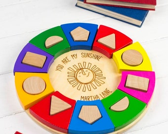 Colourful Circle Shape Sorter - Personalised Toddler Gift - Personalised Toys - Personalized Toy - Personalized Baby Toy