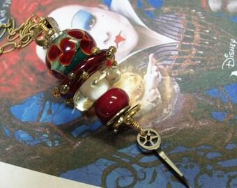 Lampwork Pendant-Red Queen Pendant-Alice inWonderland-Artisan Lampwork Beads-Stacked Pendant-SRAJD-Steampunk Pendant-Handmade Wire Wrapped
