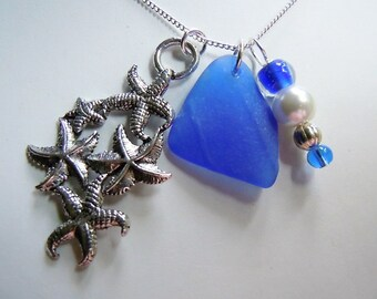 Blue Sea Glass Cluster Starfish Necklace - Seaglass Necklace Cluster Beach Glass Jewelry Eco Friendly Jewelry