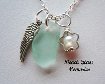 SALE Angel Wing Necklace - Sea Foam Sea Glass Necklace -  Beach Glass Jewelry