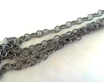 Sterling Silver Oxidized Twisted Cable Chain 4.5 x 3.7mm