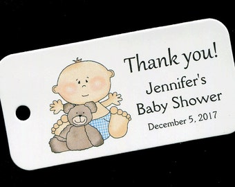 Baby Shower Favor Tags - Personalized Tag - Baby Boy - Gift Tags - Personalized Favor Tags - Thank You Tag - Baby Boy With Teddy Bear