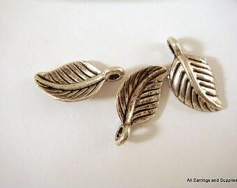 25 Antique Silver Leaf Charm Drop Pendant LF 15x8mm - 25 pc - M7022-AS25