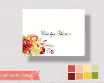 AUTUMN WEDDING PLACECARDS Fall Wedding Escort Cards   Folded Autumn Placecards   Personalized WatercolorAutumn Place Cards   Table Seating