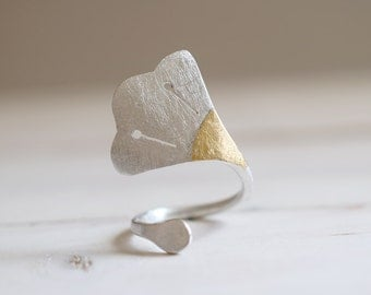 Lotus Flower. Sterling silver ring with 24kt gold. Lotus ring, Lotus band, flower ring, flower band, gold ring, ancient egypt, gingko ring.